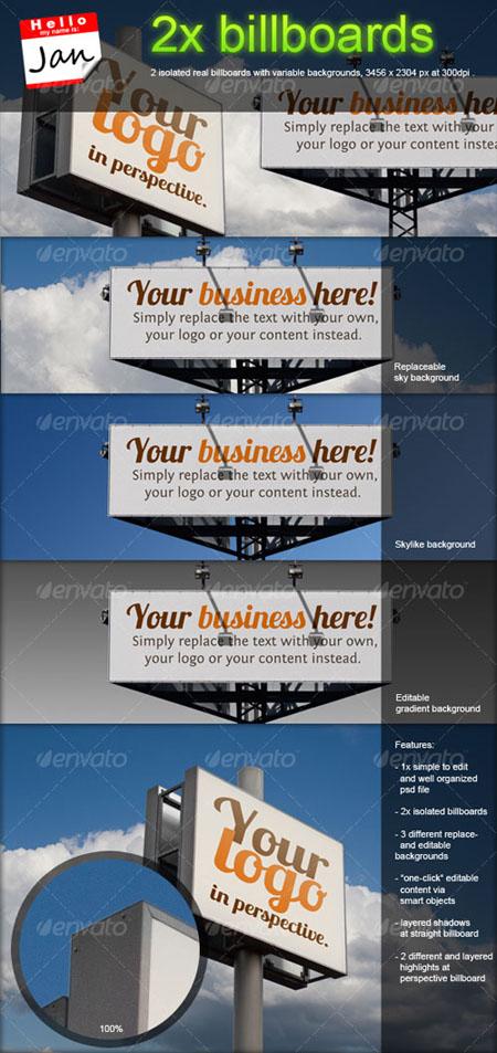GraphicRiver Set of 2 Billboards for Product/Logo Mockup