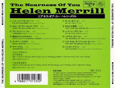 Helen Merrill - The Nearness Of You - 1957/1958 (2003)