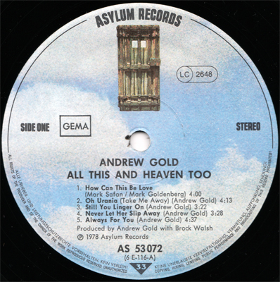 Andrew Gold - All This And Heaven Too (Asylum AS 53072) (GER 1978) (Vinyl 24-96 & 16-44.1)
