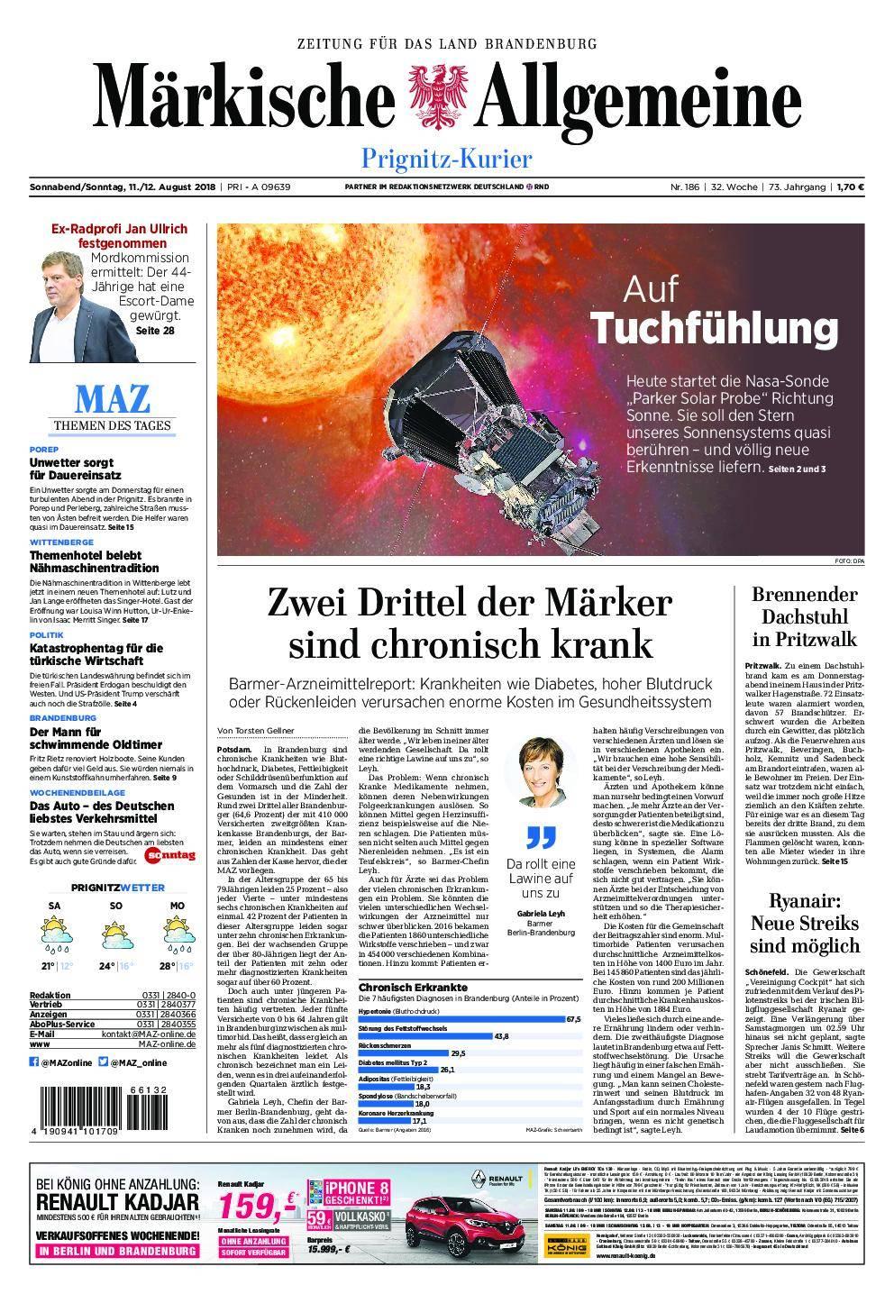 Märkische Allgemeine Prignitz Kurier - 11. August 2018