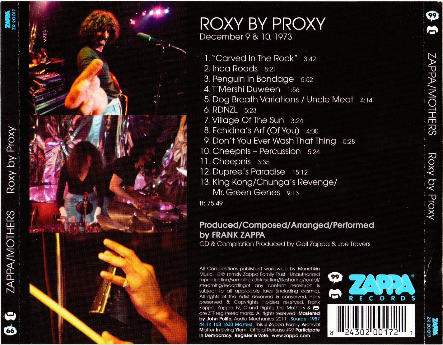 Frank Zappa Amp The Mothers Roxy By Proxy 2014 Zappa