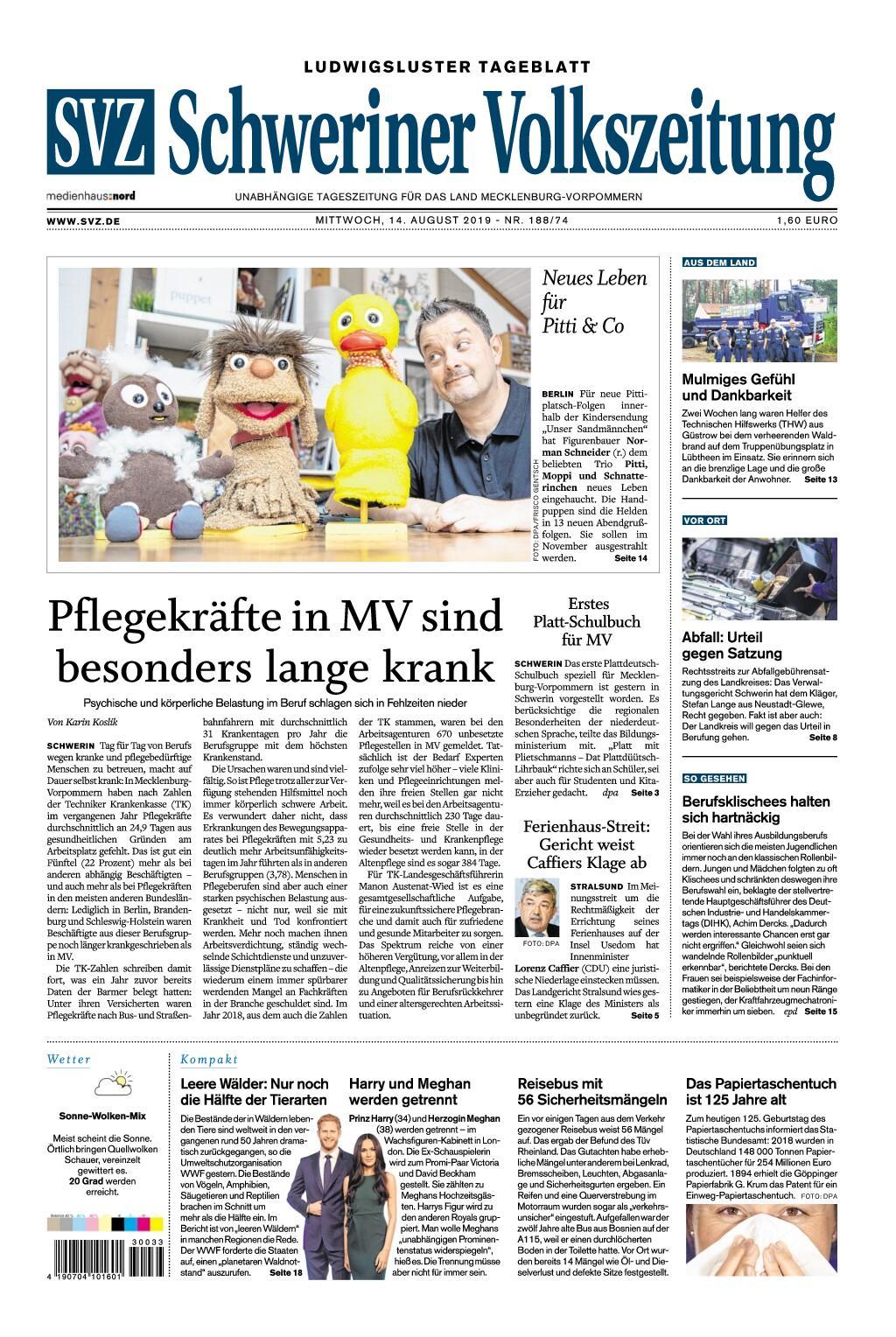 Schweriner Volkszeitung Ludwigsluster Tageblatt - 14. August 2019