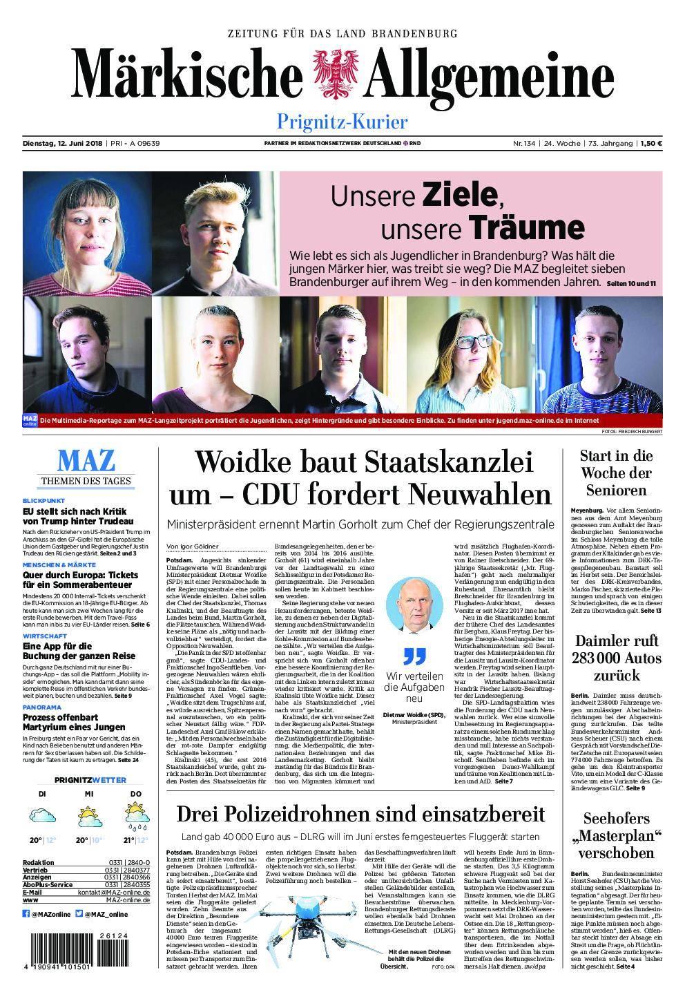 Märkische Allgemeine Prignitz Kurier - 12. Juni 2018