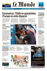Le Monde du Mercredi 11 Mars 2020