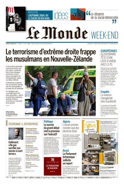 Le Monde du Samedi 16 Mars 2019