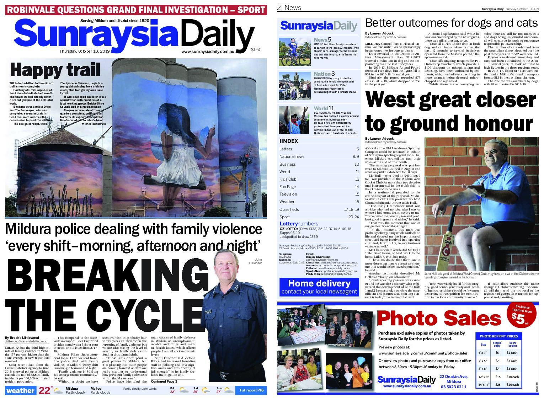 Sunraysia Daily – October 10, 2019