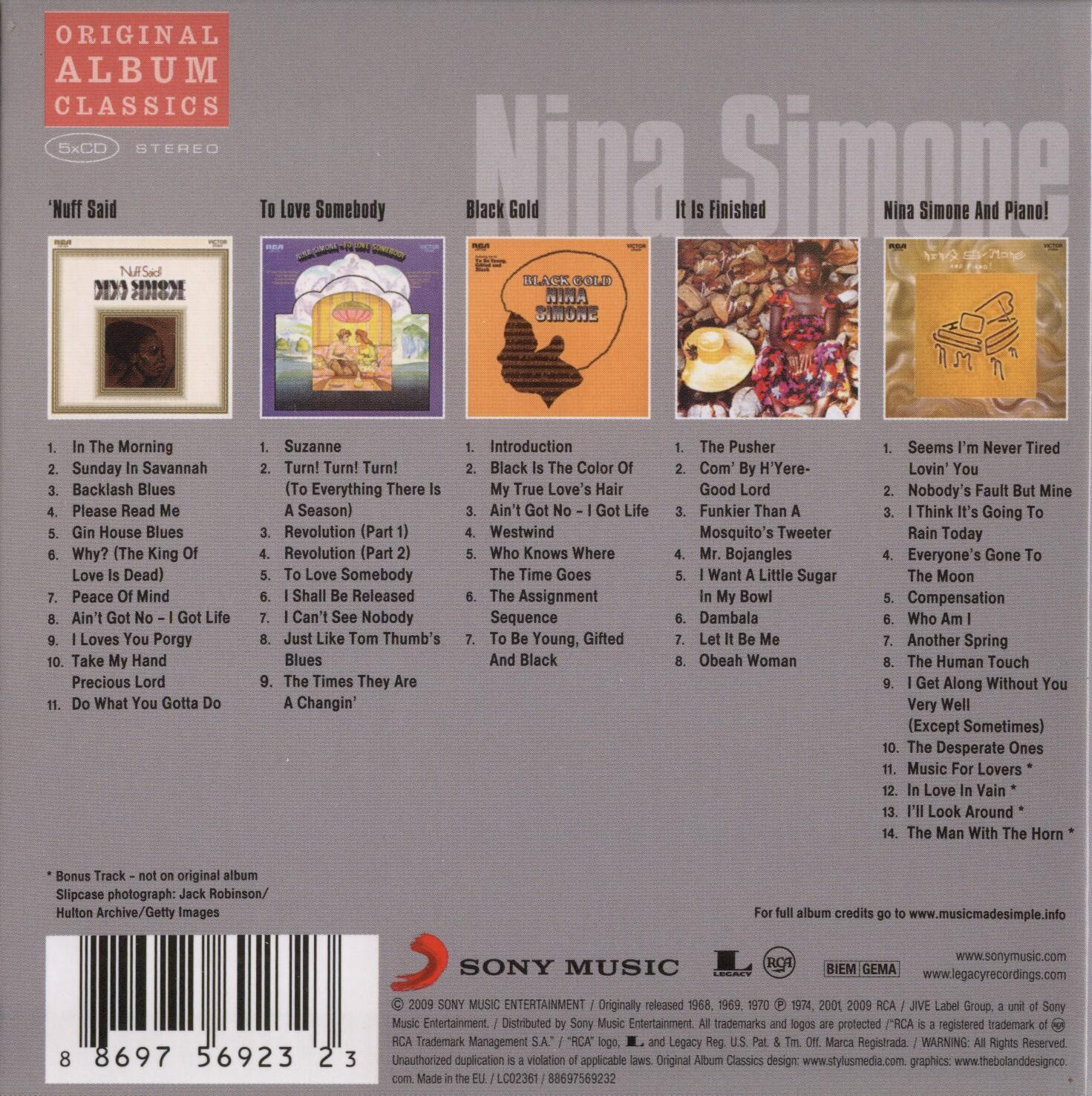 Nina Simone Original Album Classics 2009 5 Cd Box Set