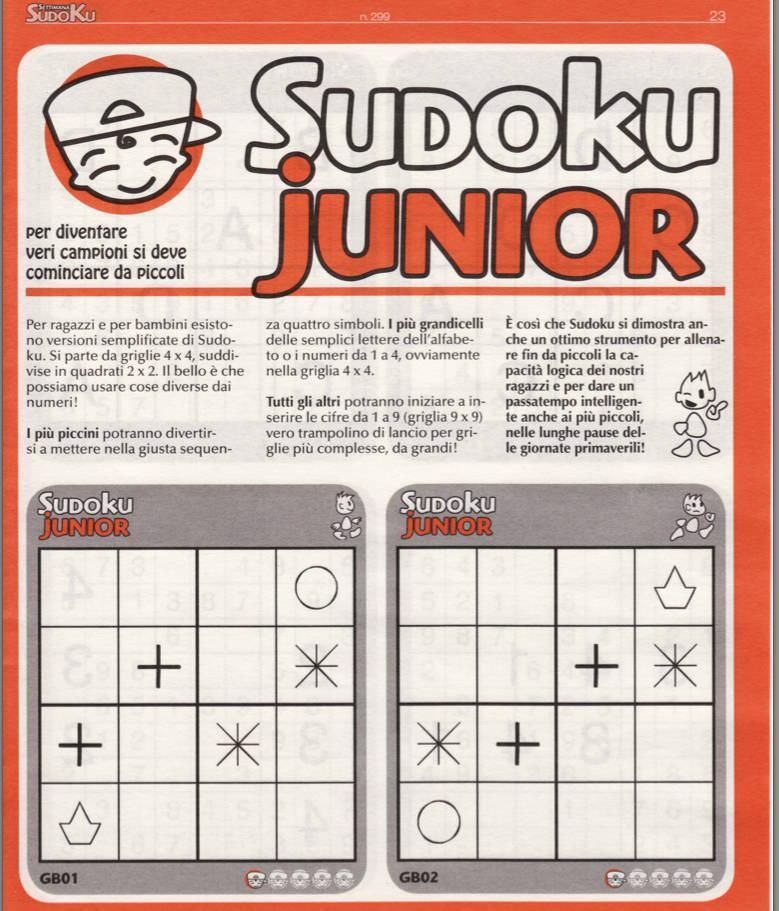 Sudoku Junior - Settimana Sudoku n.299 - 6 Maggio 2011