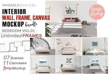 CreativeMarket - Interior Wall, Frame, Canvas Mockup