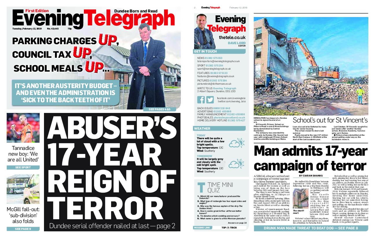 Evening Telegraph First Edition – February 12, 2019
