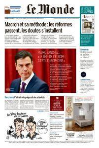 Le Monde du Vendredi 29 Juin 2018