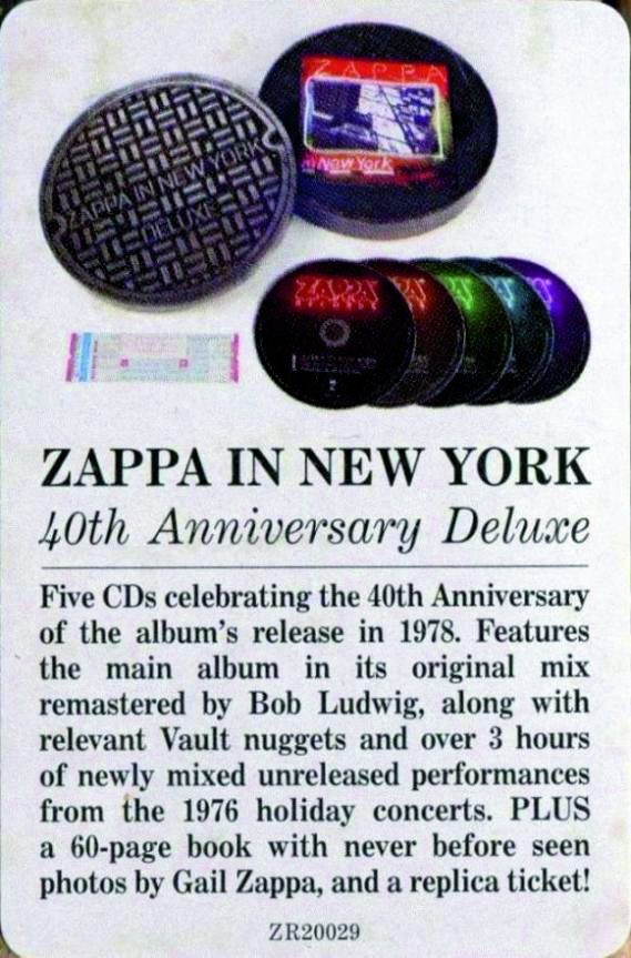 Frank Zappa Zappa In New York 2019 5cd Box Set 40th