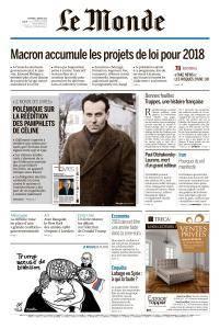 Le Monde du Vendredi 5 Janvier 2018