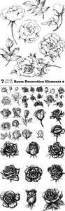 Vectors - Roses Decoration Elements 9