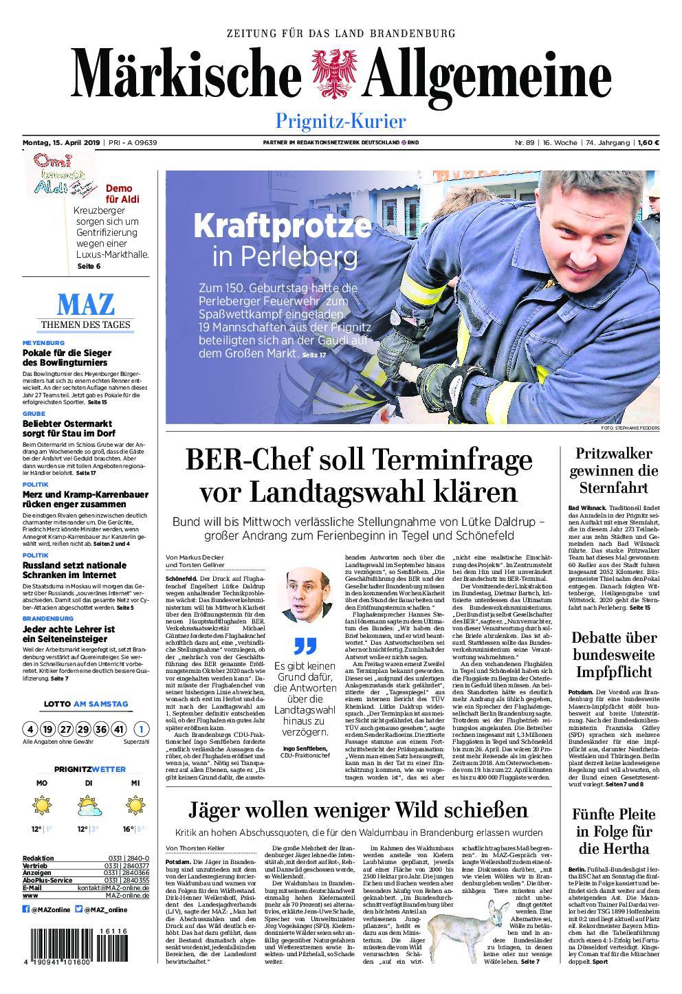 Märkische Allgemeine Prignitz Kurier - 15. April 2019