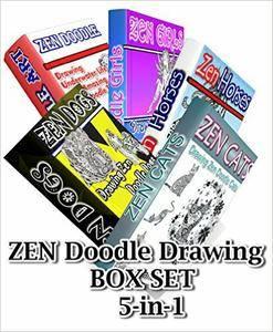 Zen Doodle Drawing BOX SET 5-in-1: Zen Cats, Zen Dogs, Zen Horses, Zen Underwater Life, Zen Girls