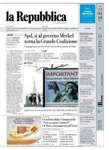 la Repubblica - 22 Gennaio 2018