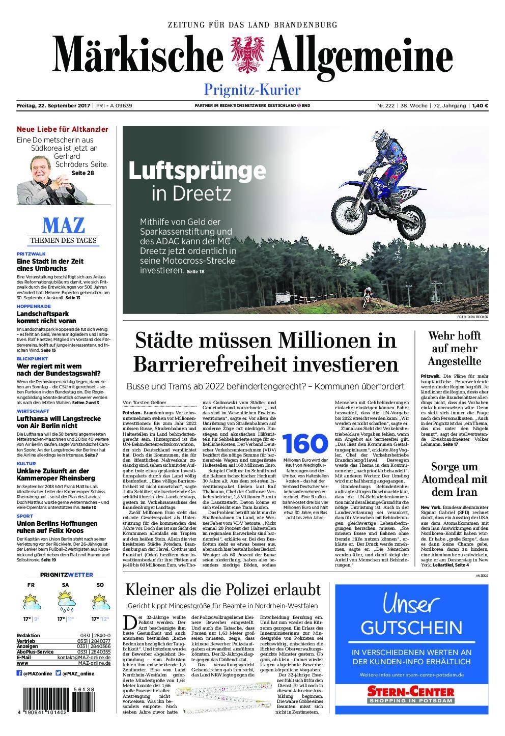 Märkische Allgemeine Prignitz Kurier - 22. September 2017