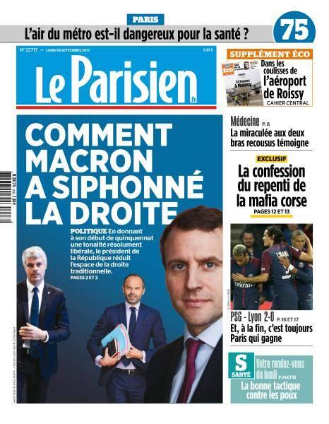 Le Parisien du Lundi 18 Septembre 2017