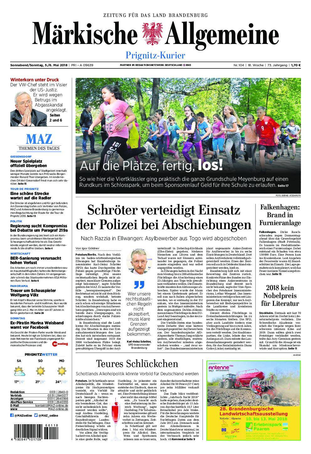 Märkische Allgemeine Prignitz Kurier - 05. Mai 2018