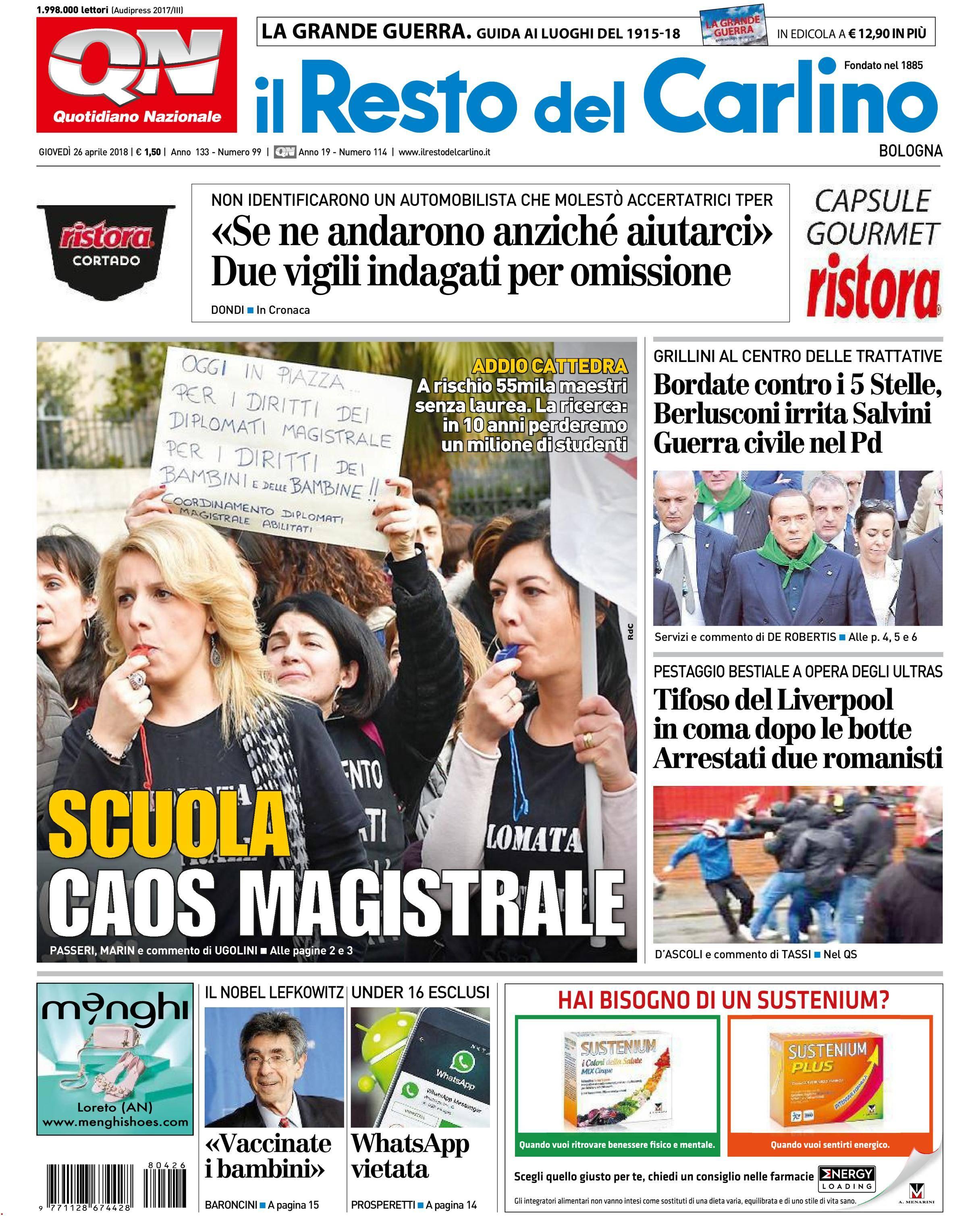 Il Resto del Carlino Bologna - 26 aprile 2018