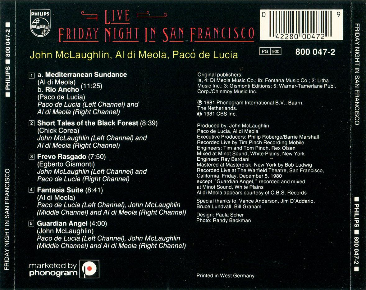 Al di Meola, John McLaughlin, Paco de Lucia - Friday Night in San Francisco (1981) Non-Remastered [Re-Up]