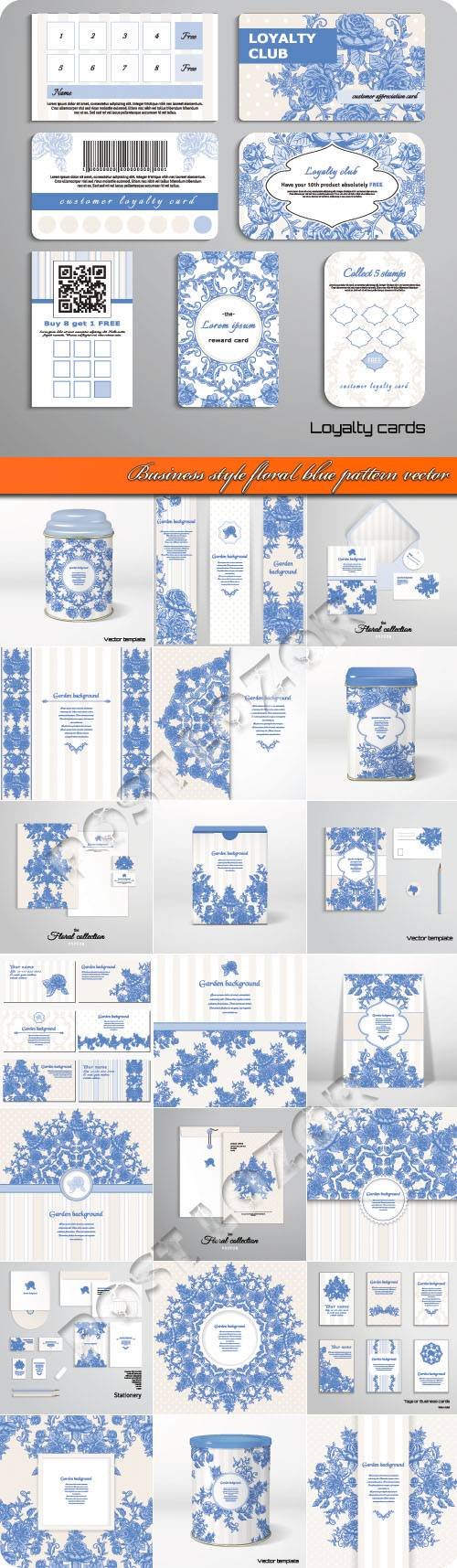 Business style floral blue pattern vector