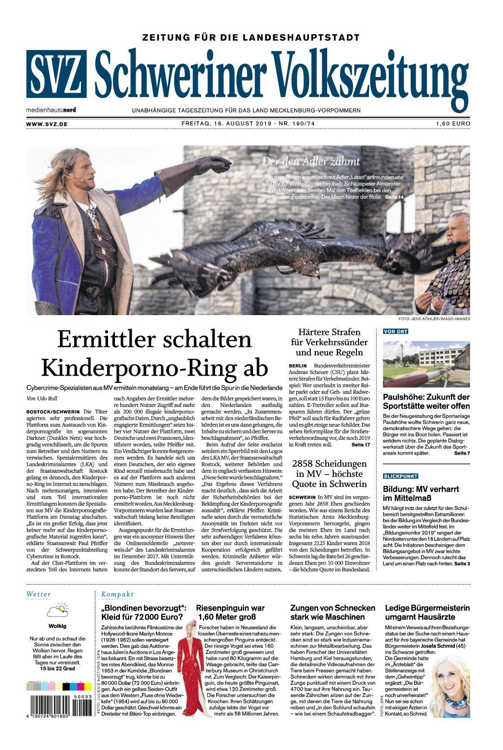 Schweriner Volkszeitung Zeitung für die Landeshauptstadt - 16. August 2019