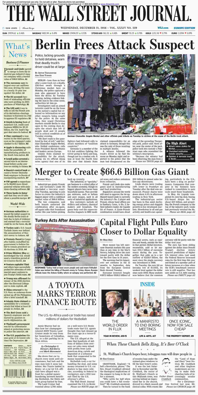 The Wall Street Journal Europe  December 21 2016