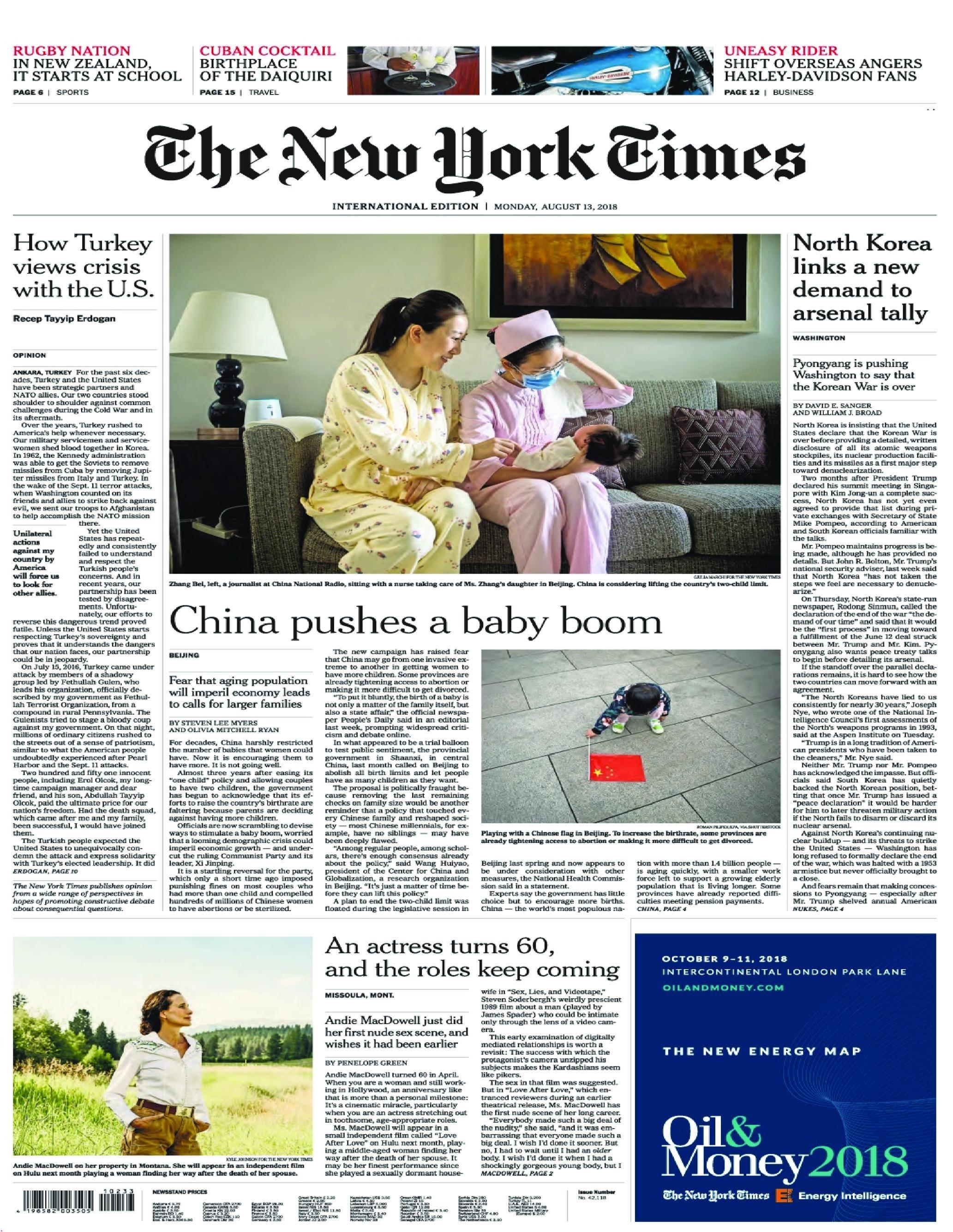 International New York Times - 13 August 2018