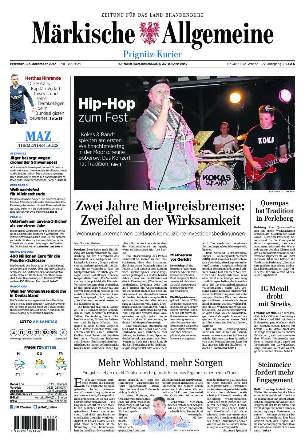 Märkische Allgemeine Prignitz Kurier - 27. Dezember 2017