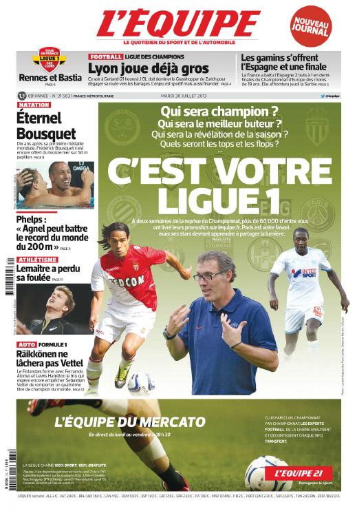 L'Equipe - Mardi 30 Juillet 2013