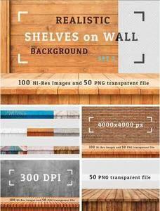 CreativeMarket - 100 Realistic Shelves on Wall. Set 2