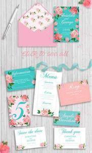 CreativeMarket - Wedding Invitation Suit Mint color