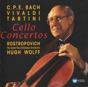 C.P.E. Bach, Vivaldi & Tartini - Cello Concertos - Mstisislav Rostropovich, Hugh Wolff (2016) {Teldec-Warner Classics rec 1993}