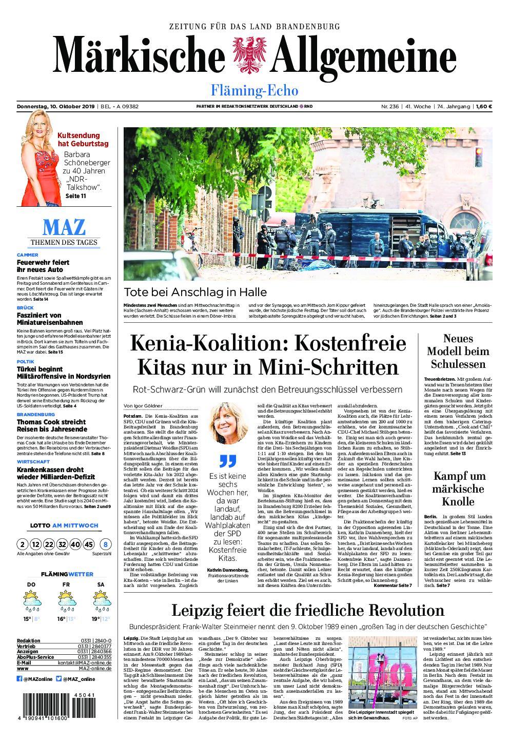 Märkische Allgemeine Fläming Echo - 10. Oktober 2019