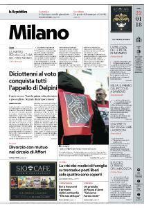 la Repubblica Milano - 22 Gennaio 2018