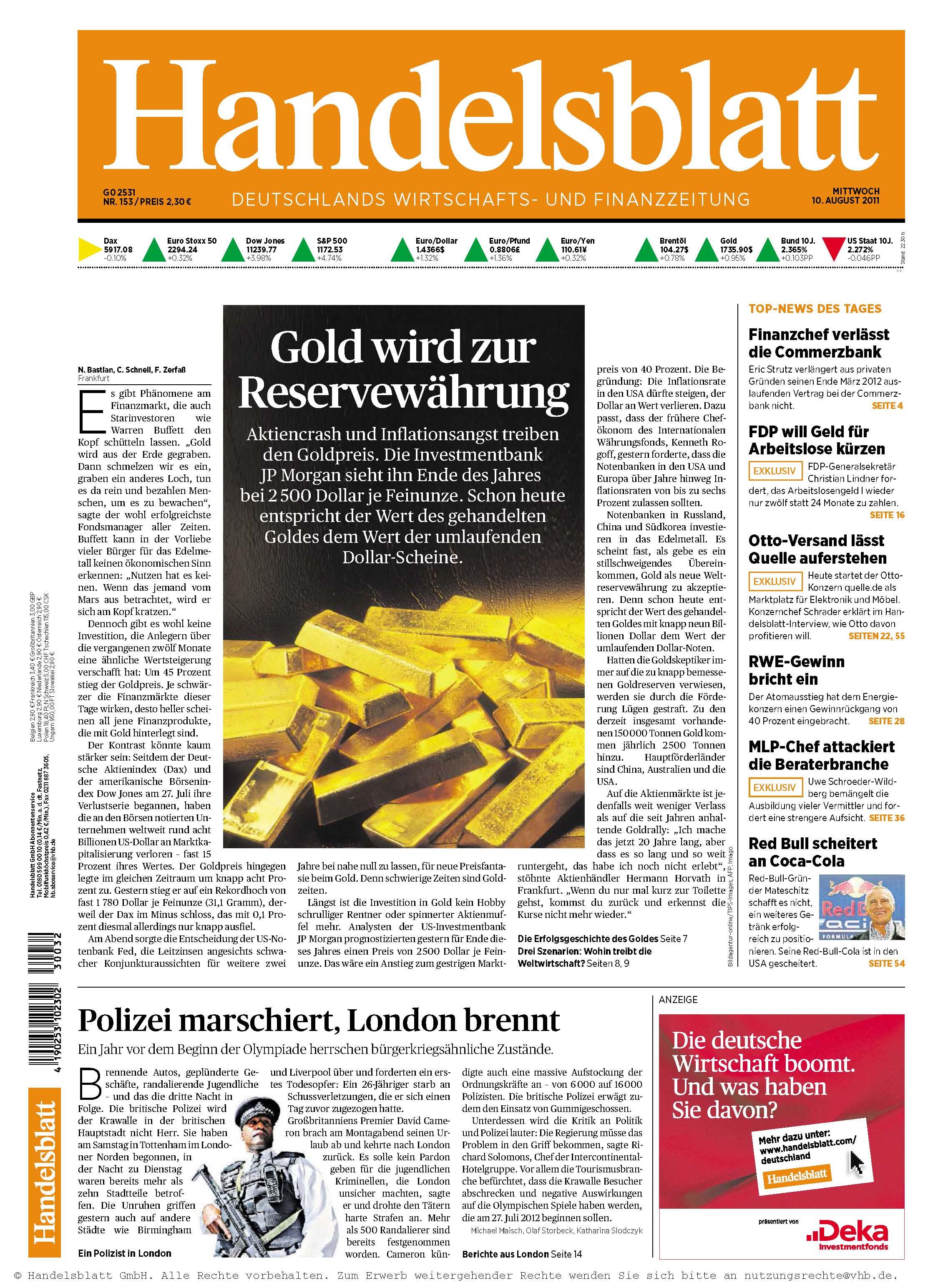 Handelsblatt Nr.153 vom 10.08.2011