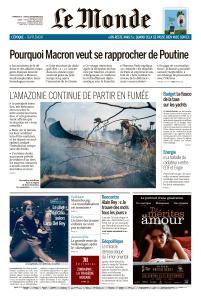 Le Monde du Dimanche 8 et Lundi 9 Septembre 2019