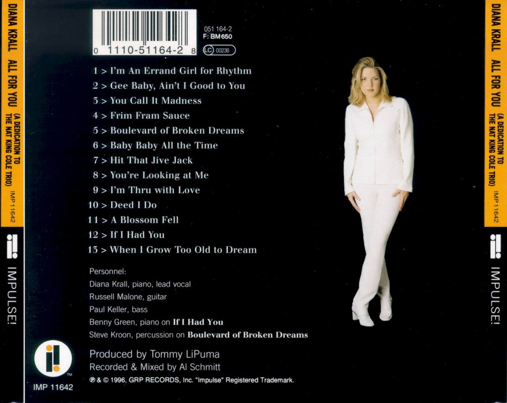 Diana Krall - All for You: A Dedication to the Nat King Cole Trio (1996)