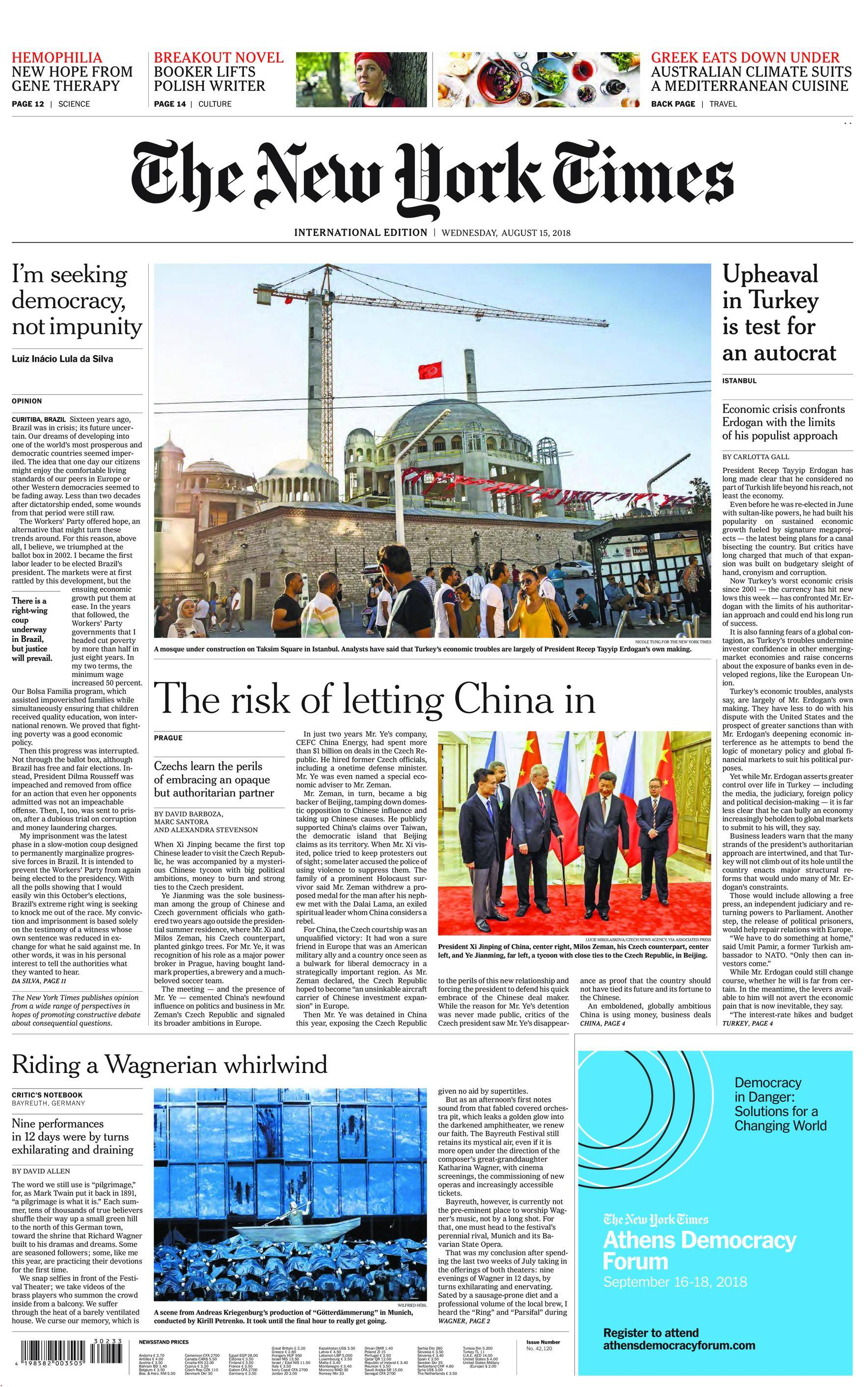 International New York Times - 15 August 2018