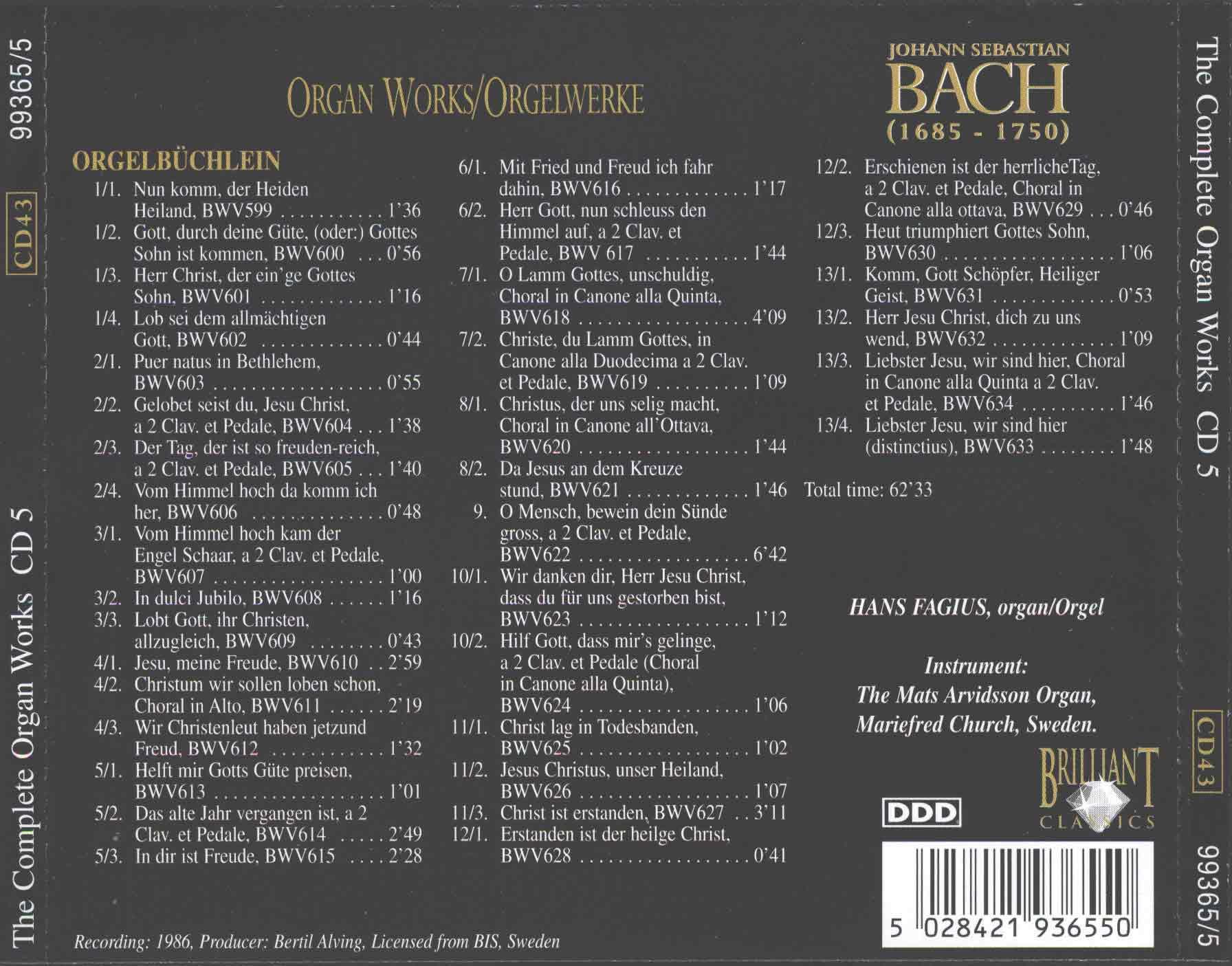J.S.Bach - The Complete Organ Works CD 5 - Hans Fagius