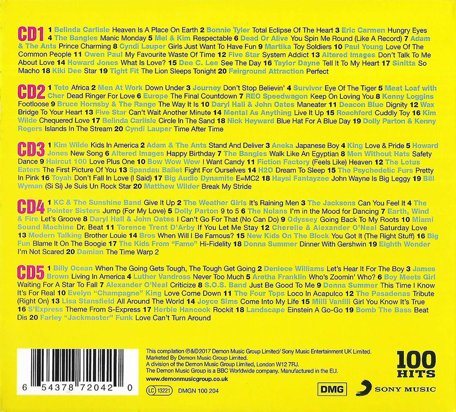 Various Artists - 100 Hits: The Best Eighties Album [5CD] (2017)