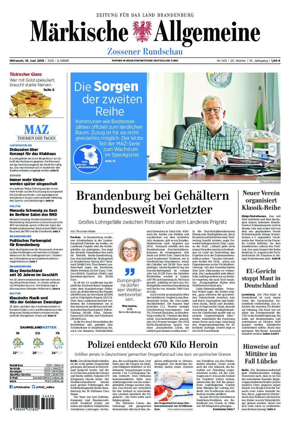 Märkische Allgemeine Zossener Rundschau - 19. Juni 2019