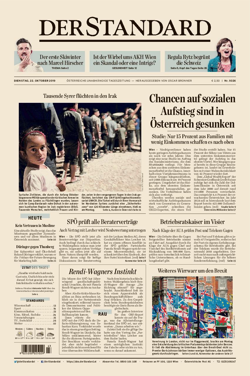 Der Standard – 22. Oktober 2019