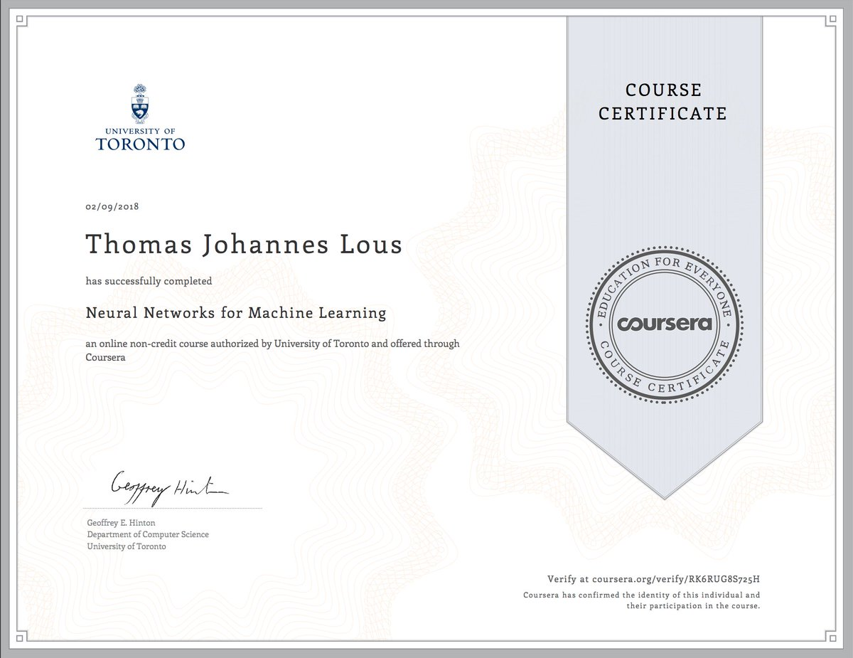 Coursera - Neural Networks for Machine Learning (University