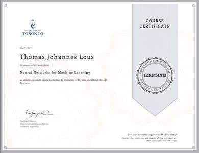 Coursera - Neural Networks for Machine Learning (University of Toronto)