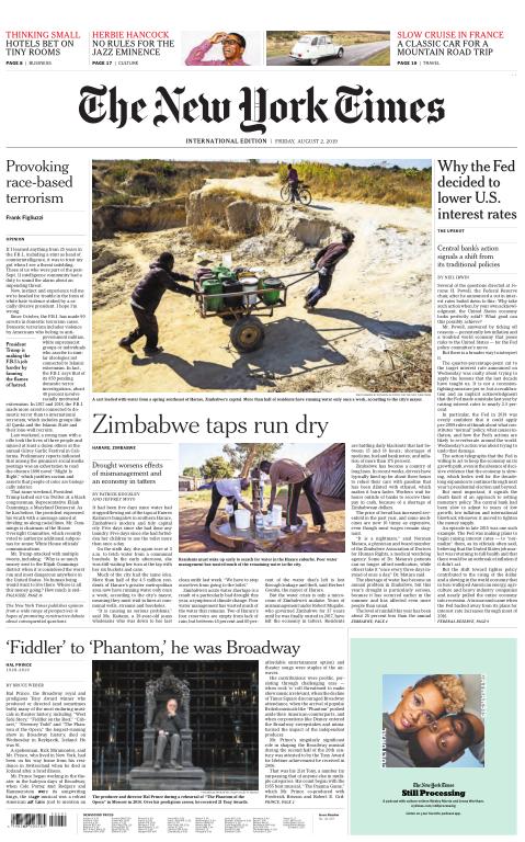 International New York Times - 02 August 2019