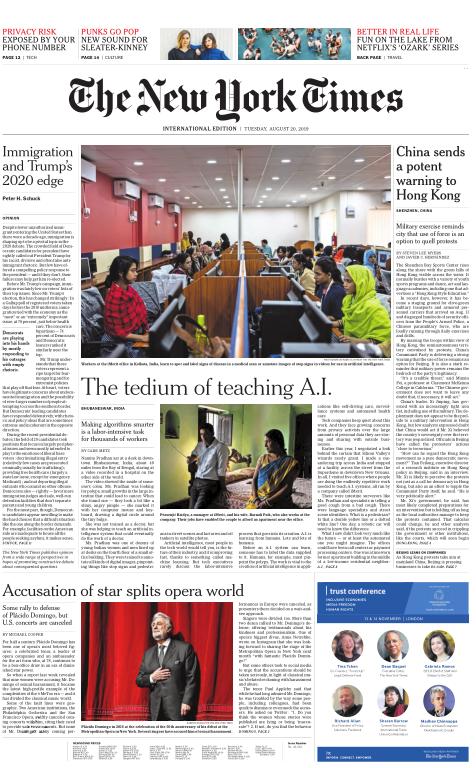 International New York Times - 20 August 2019