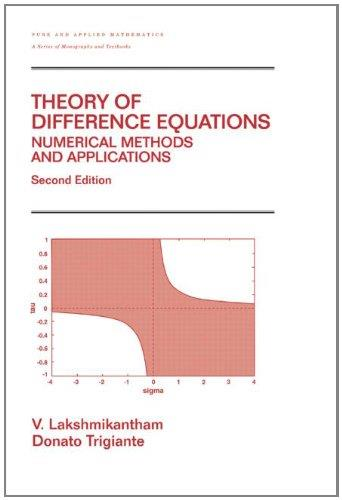 Theory of Difference Equations: Numerical Methods and Applications